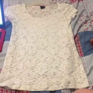 White Lace Flower Shirt